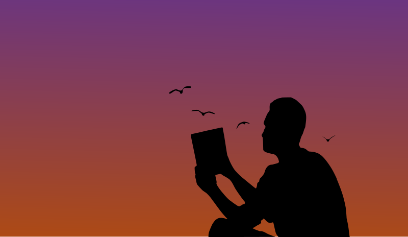 Man reading a book in sunset