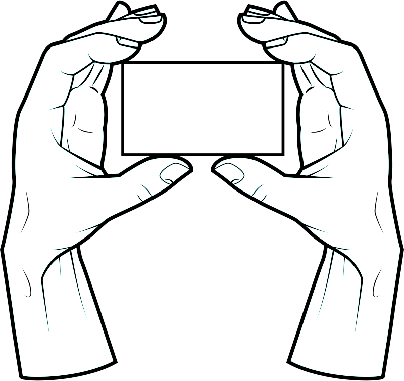 Hands with rectangular card