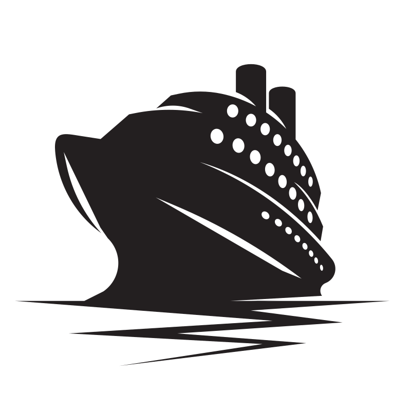 Cruise ship stencil clip art