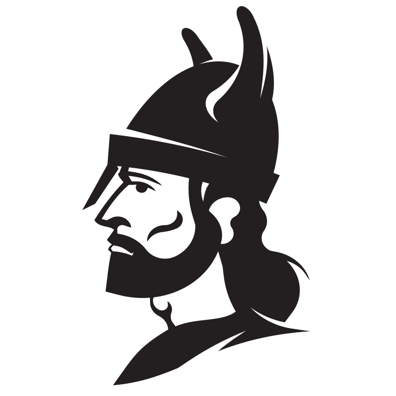 Viking warrior with helmet silhouette