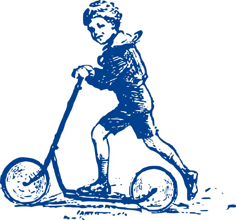 Blue Boy on Scooter