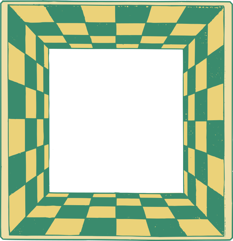 Green Yellow Checkered 3D Frame