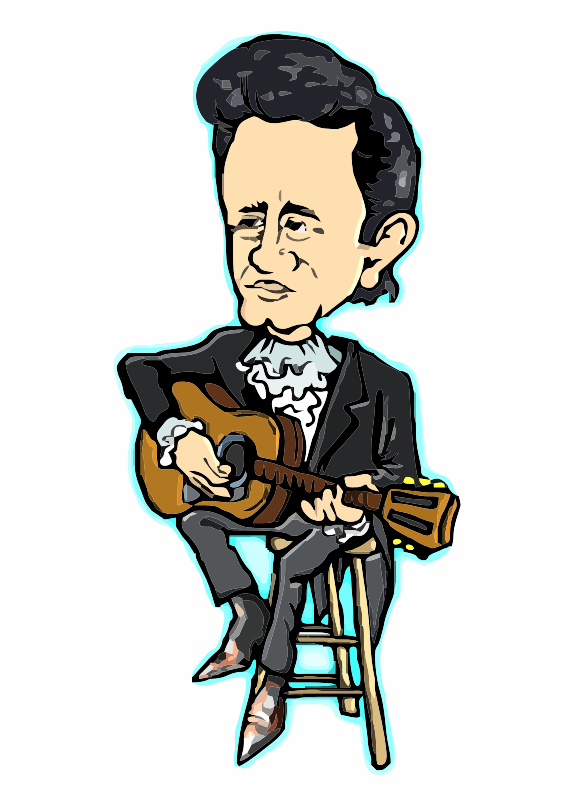 Johnny Cash sitting on stool
