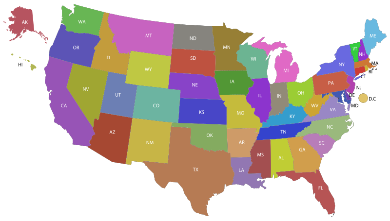 United States Map With Labels