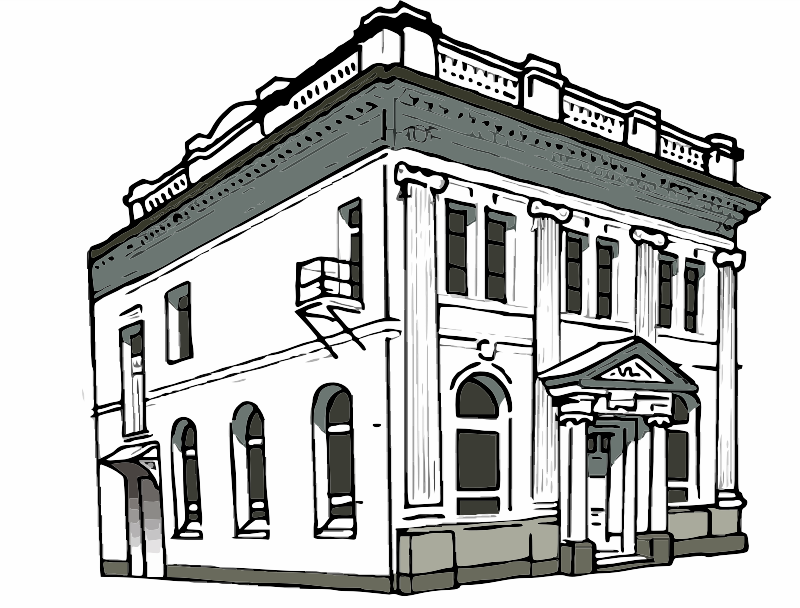 A drawing of a bank building