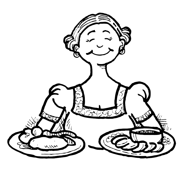 A German lady with food