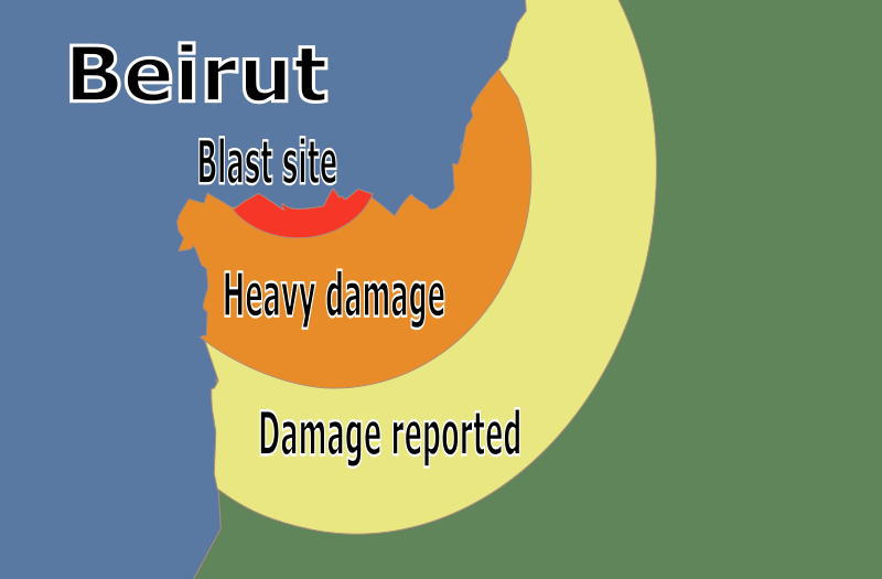 Beirut Blast Map