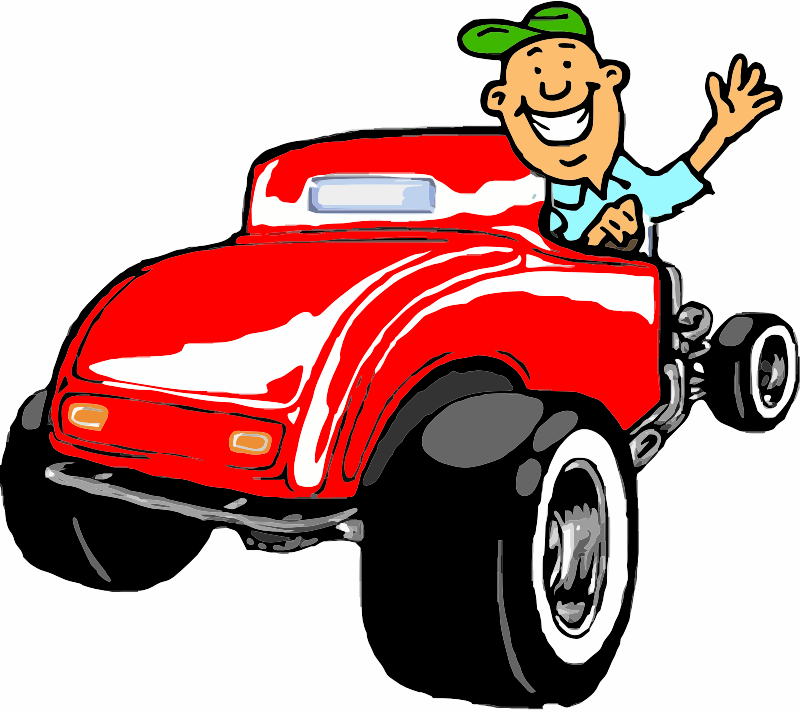 Vintage Car with cartoon character