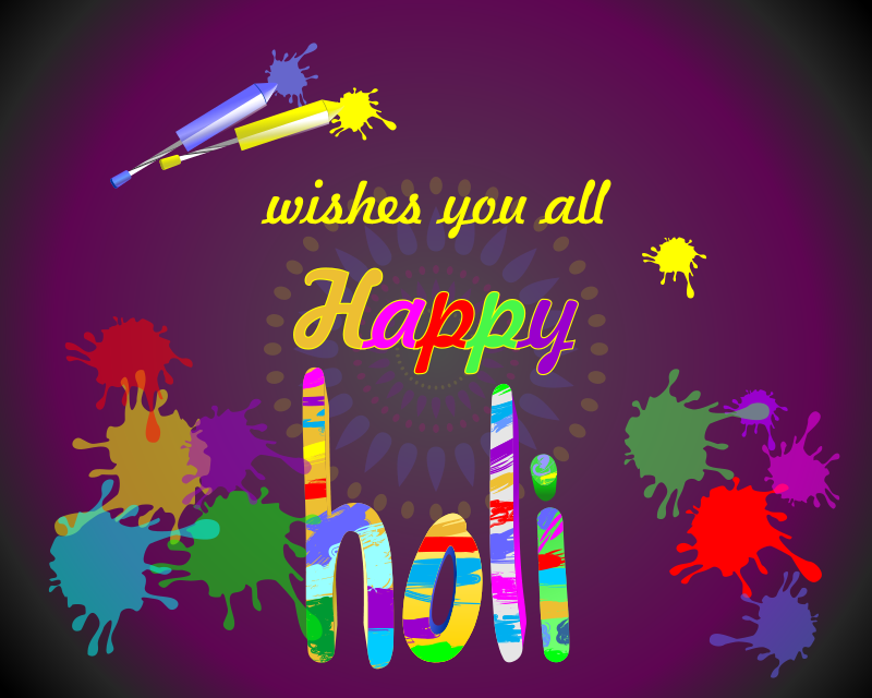 Happy Holi Wishes in Brush Painting Style - No logo fix mix
