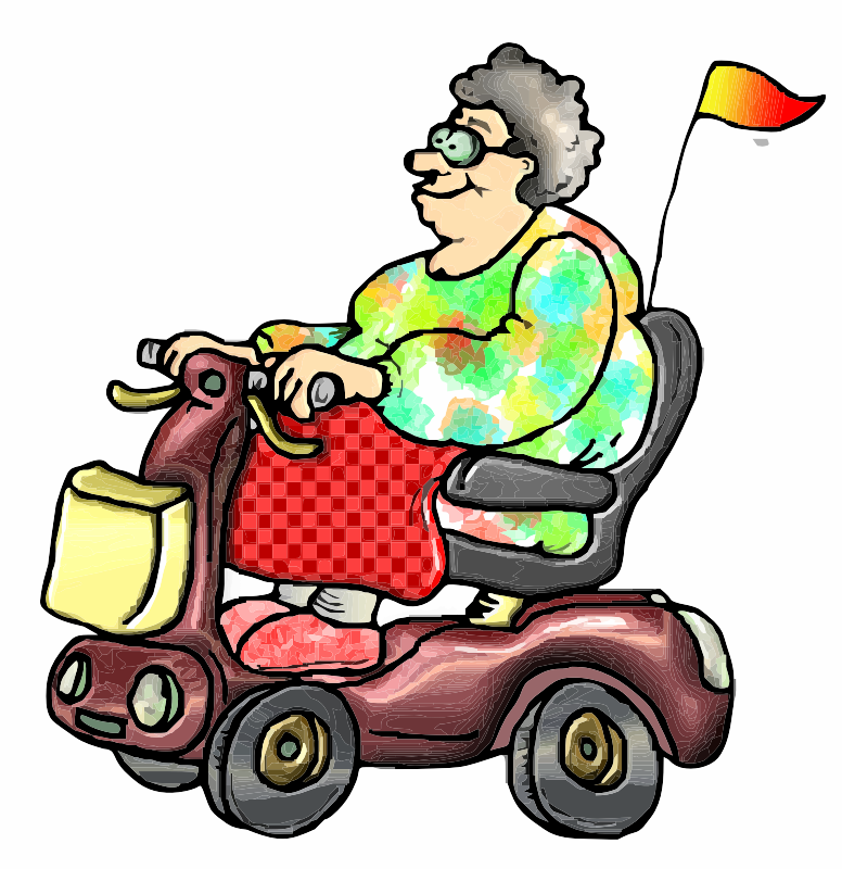 A cartoon of a lady on a Mobility Scooter