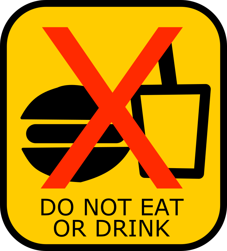 Do Not Eat or Drink Sign