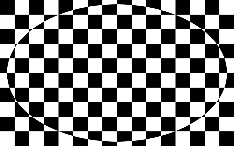 Black and white squares with ellipse