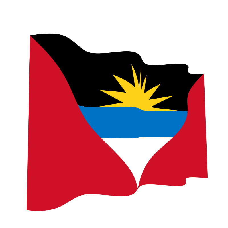 Waving flag of Antigue and Barbuda