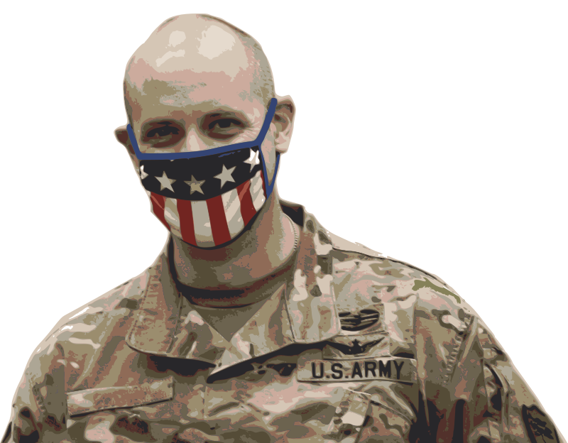 Solider in a Flag Mask