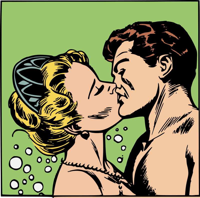 Mermaid kissing man