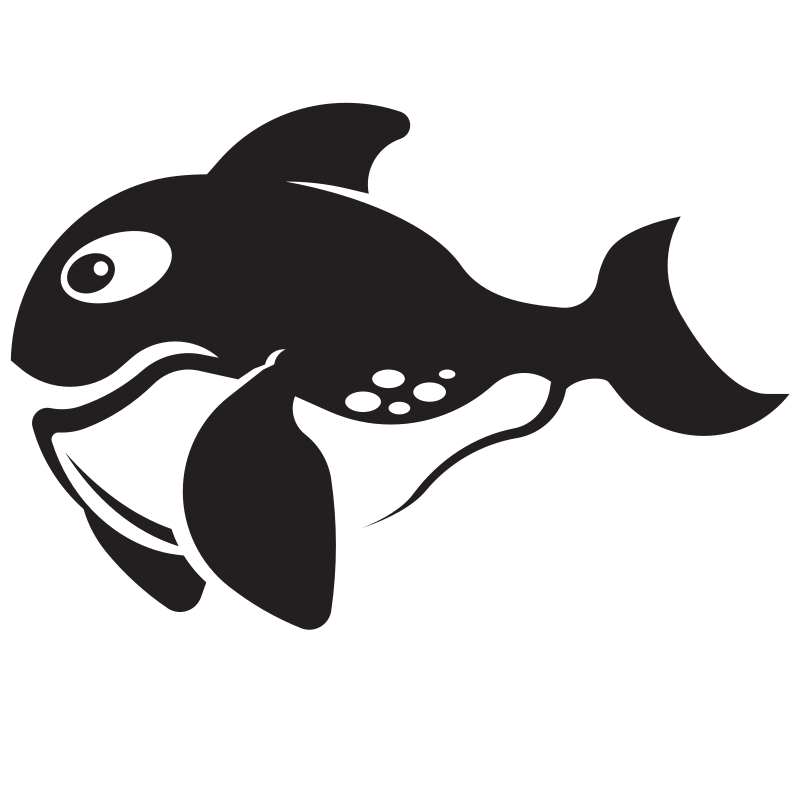 Fish silhouette monochrome clip art
