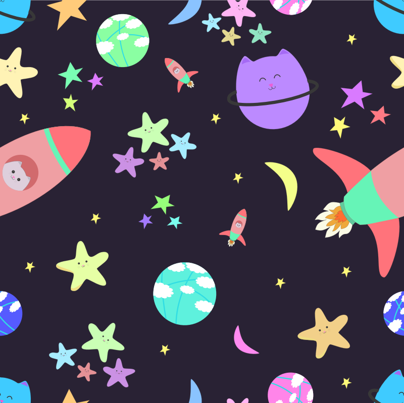 Cats in Space Pattern