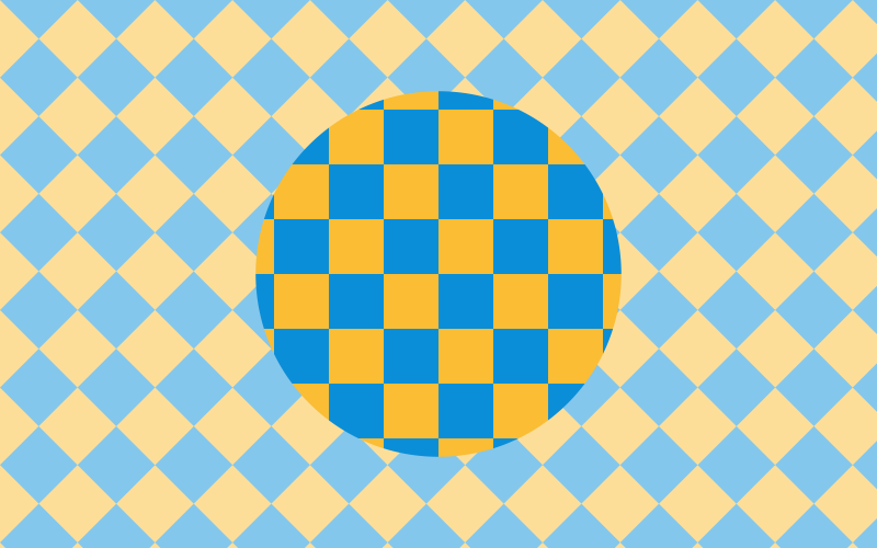 Yellow and blue tiles pattern with a circle in the center