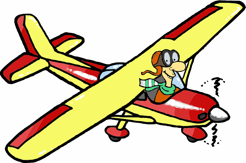 Man flying a red and yellow plane