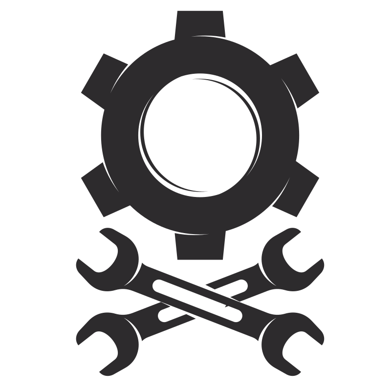 Silhouette of a cog and a wrench