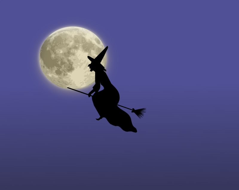 Halloween Witch in the Sky