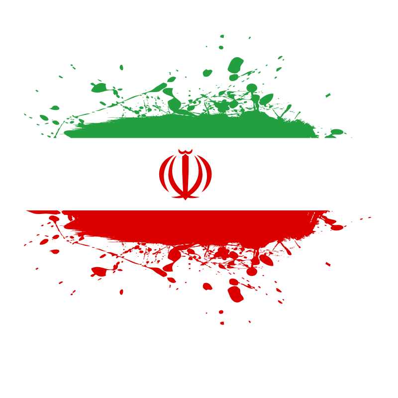 Iranian flag ink spatter