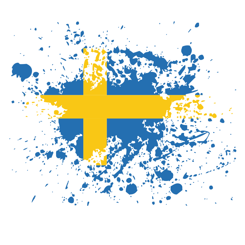 Swedish flag grunge splatter