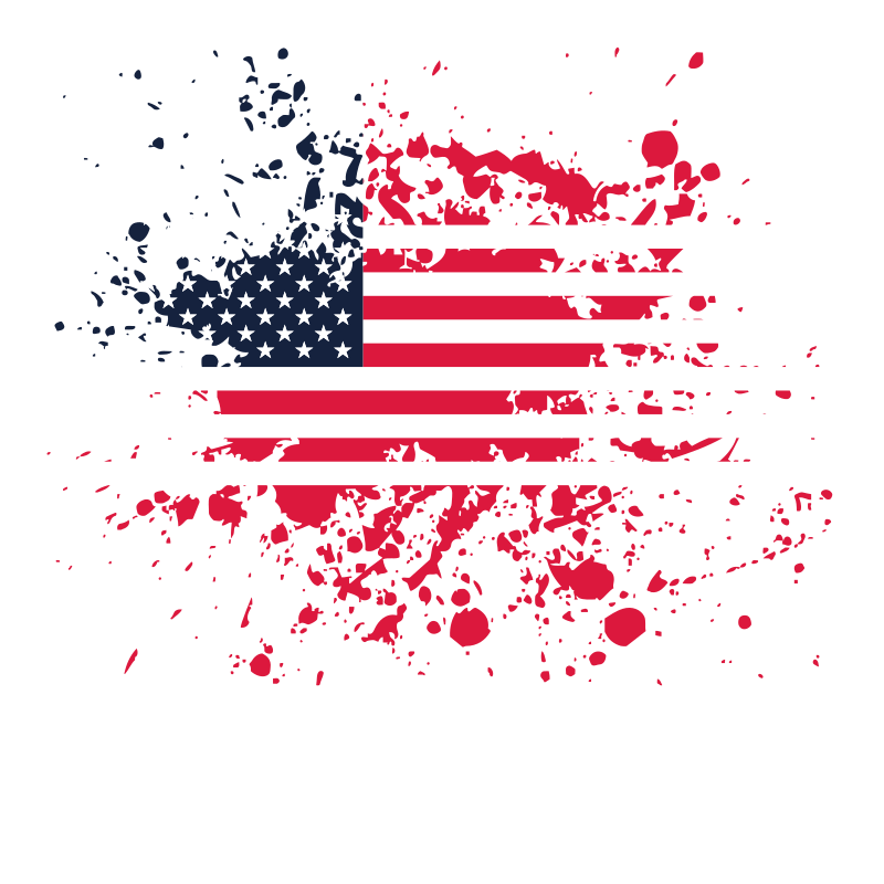 Flag of the USA ink splatter