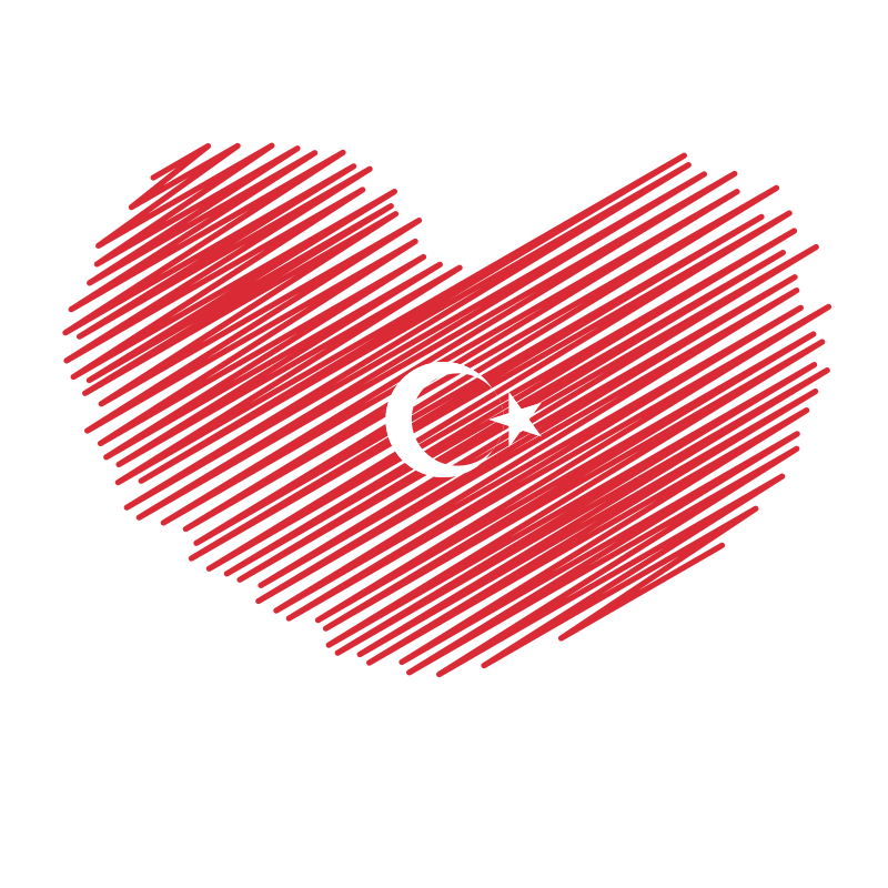 Turkish flag heart shape