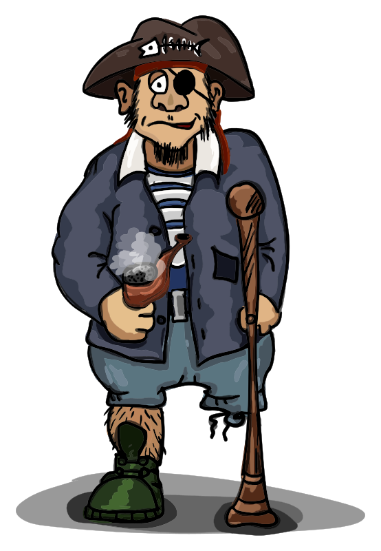 one-legged pirate with pipe