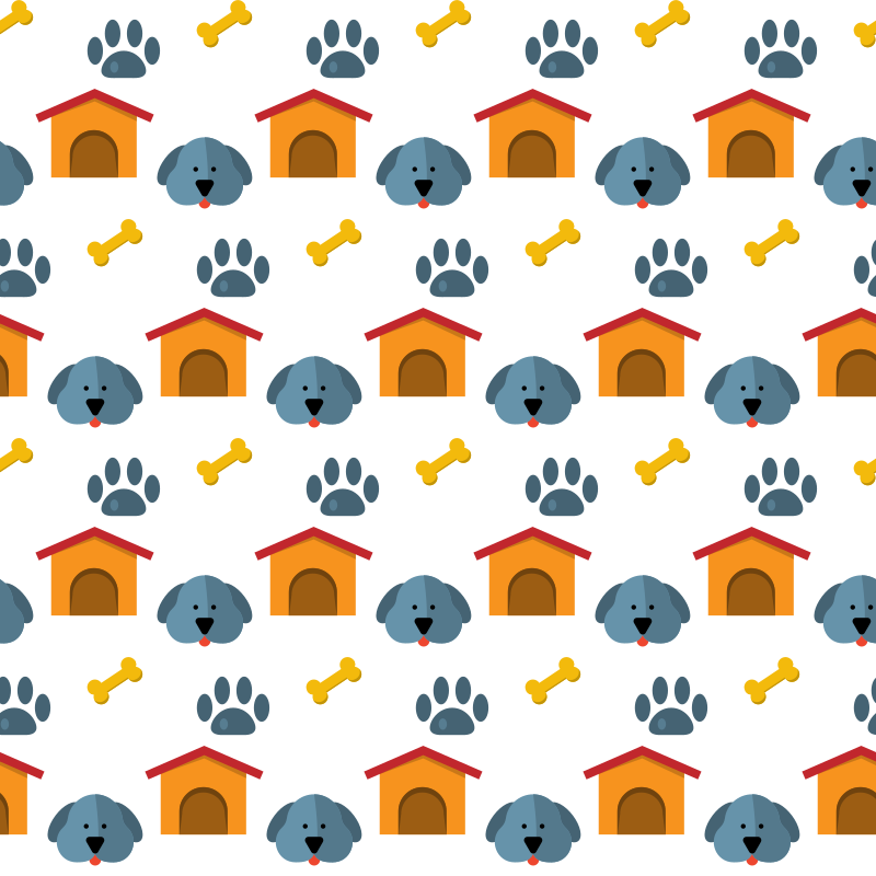 Dog house seamless pattern