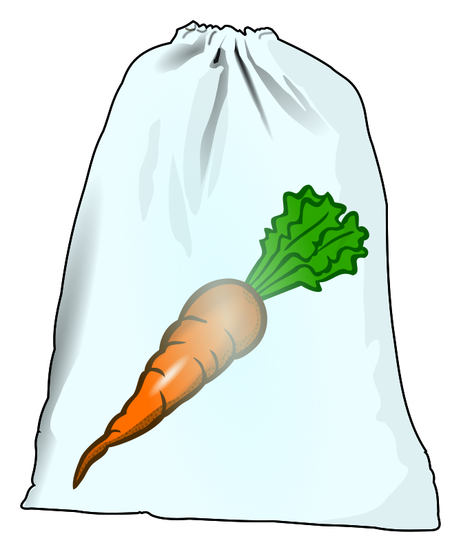 Plastic bag with carrot