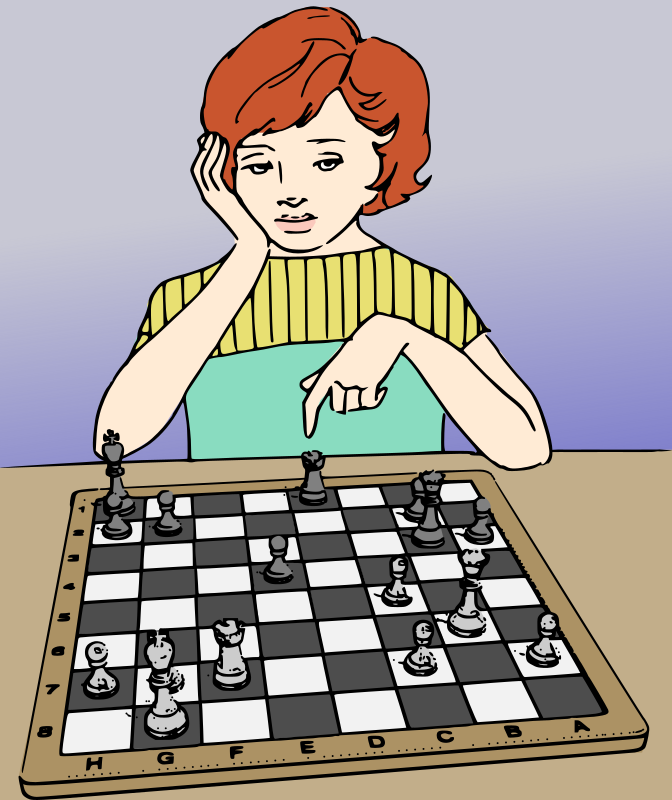 Girl Playing Chess - Colour