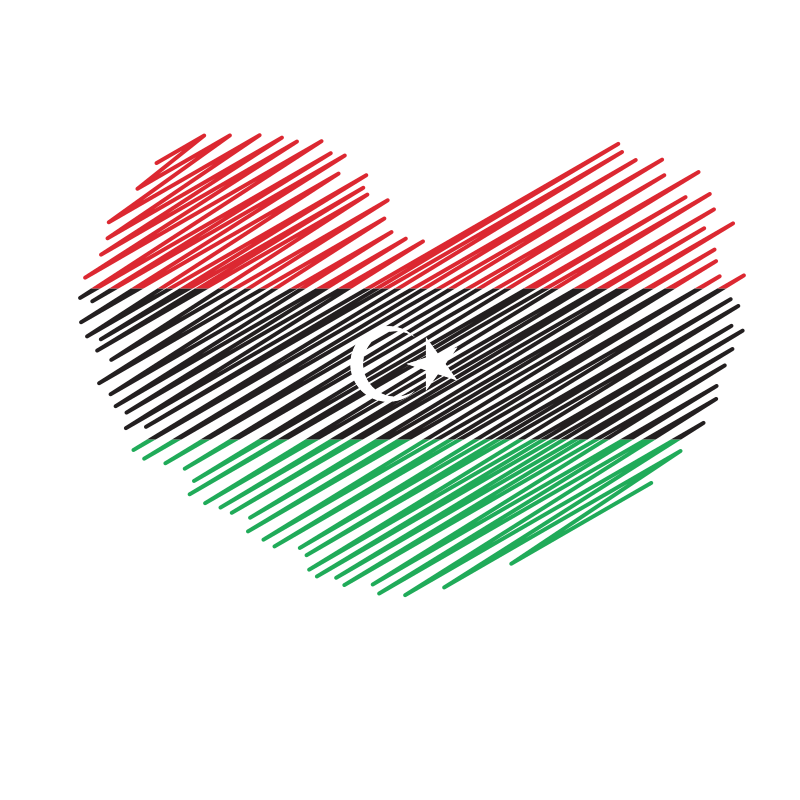 Libyan flag heart shape