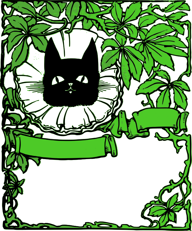 Green Leaf and Black Cat