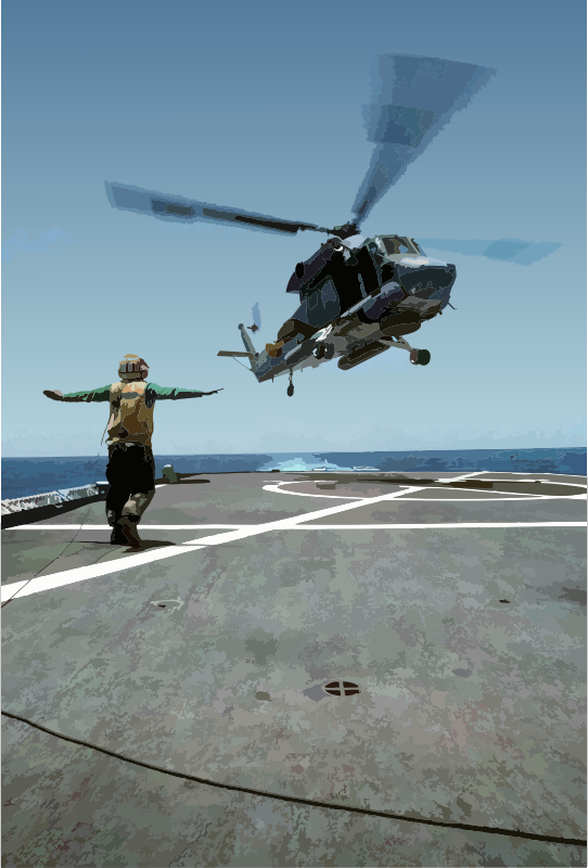SH-2F America 243 lifts off USS O'Bannon