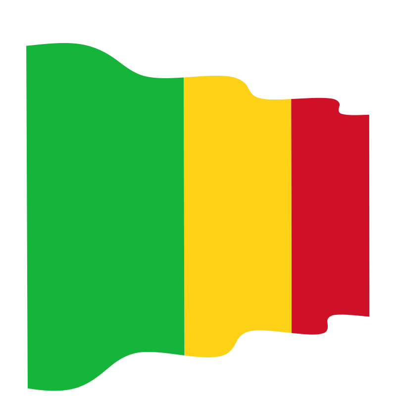 Waving flag of the Republic of Mali