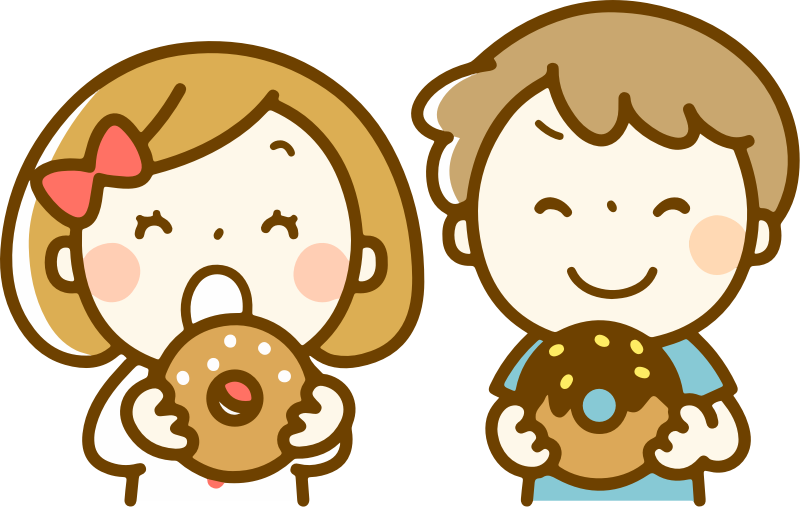 Children eating doughnuts