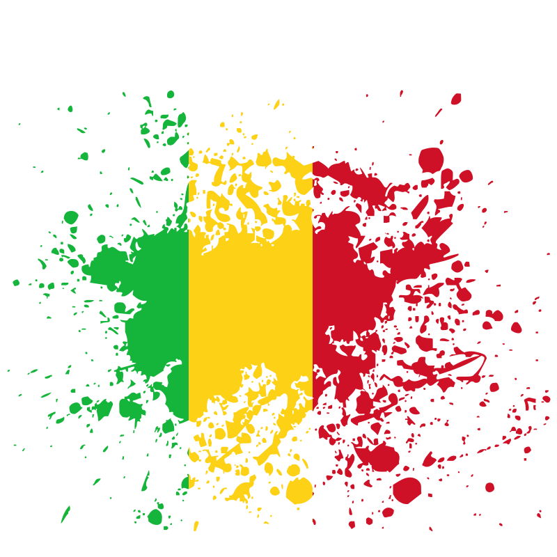 Mali Republic flag paint splatter