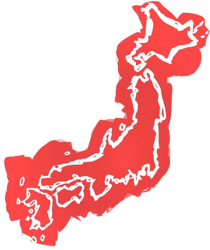 Colour Drawn Map of Japan