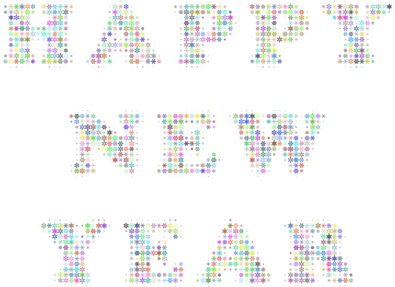 Happy New Year Snowflakes Typography Colorful