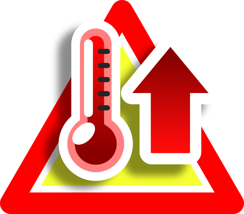 Warning high temperature icon