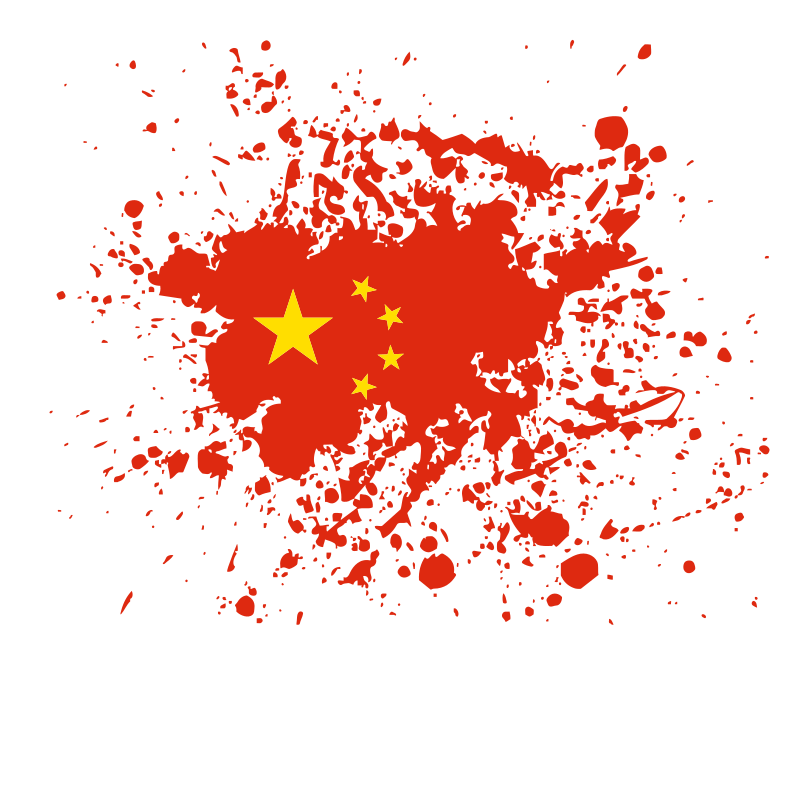 Chinese flag grunge ink