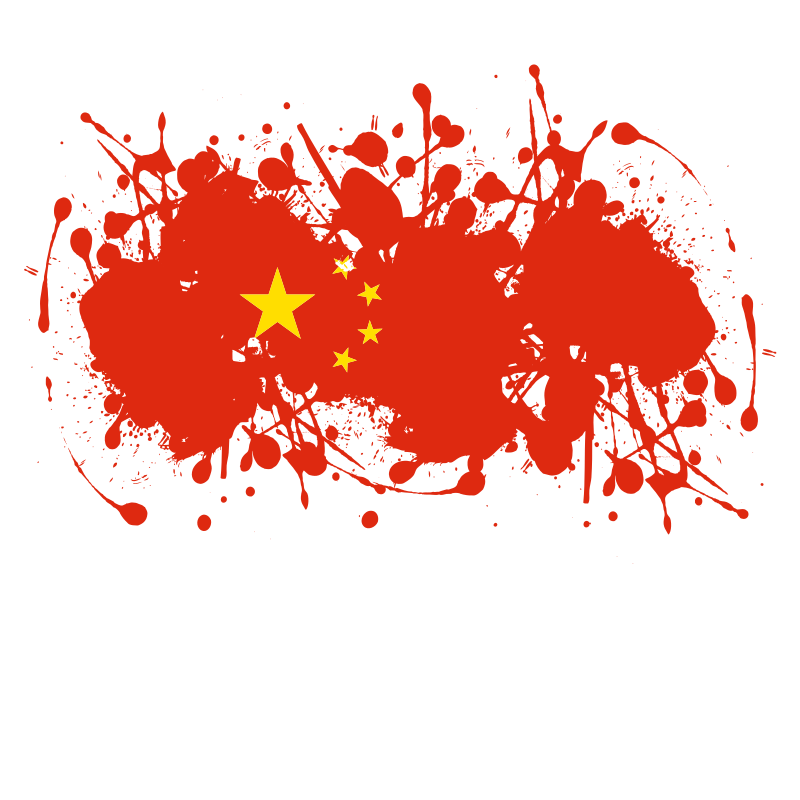 Chinese flag ink splatter