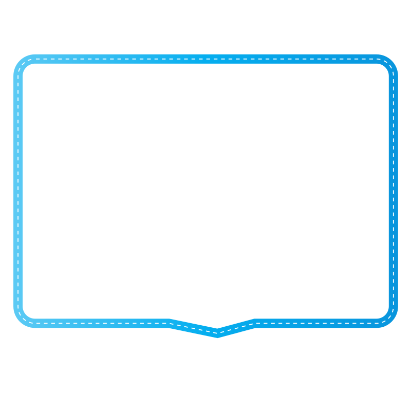 Speech bubble with blue border