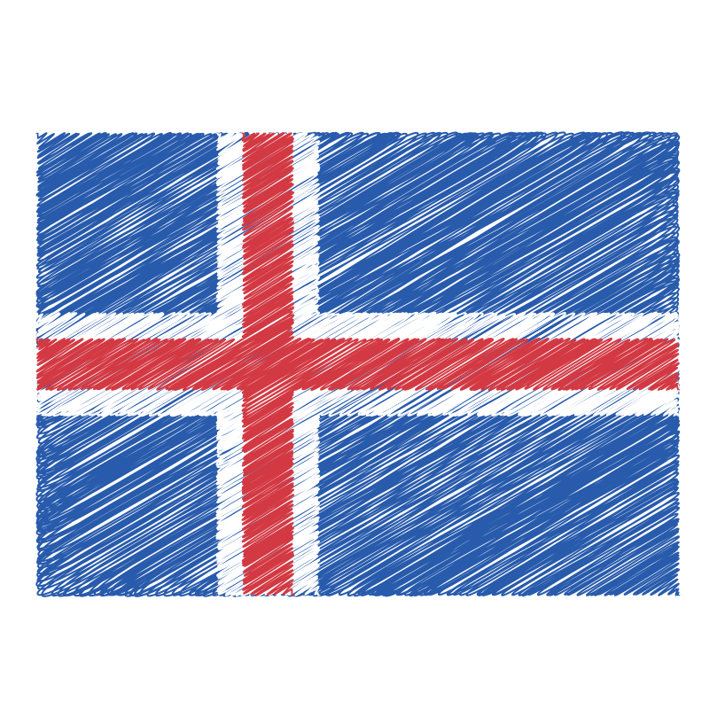 Iceland flag scribble effect