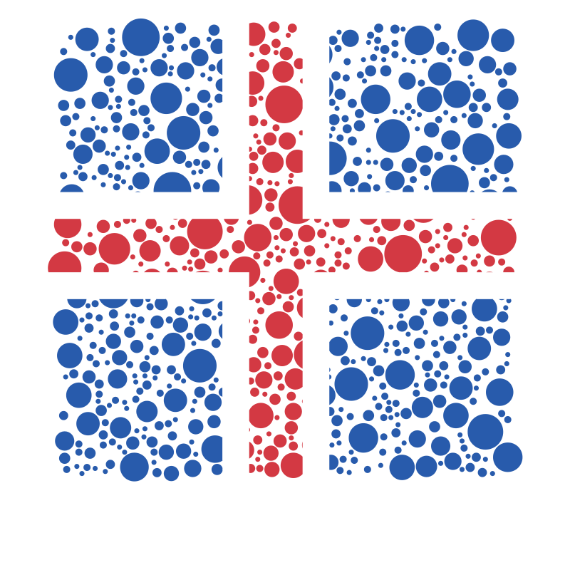 Icelandic flag with dotted pattern