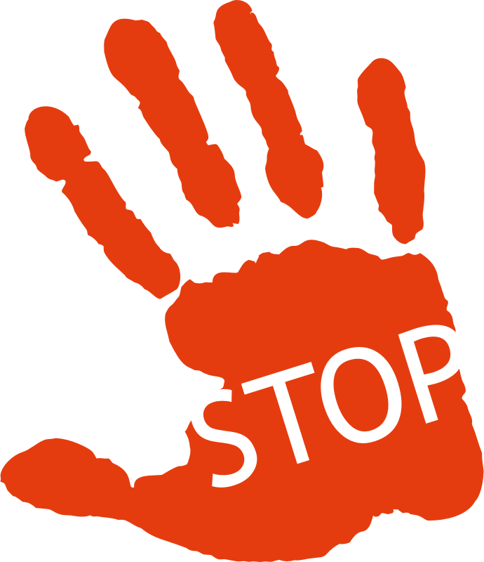 Stop Sign Hand Print Silhouette