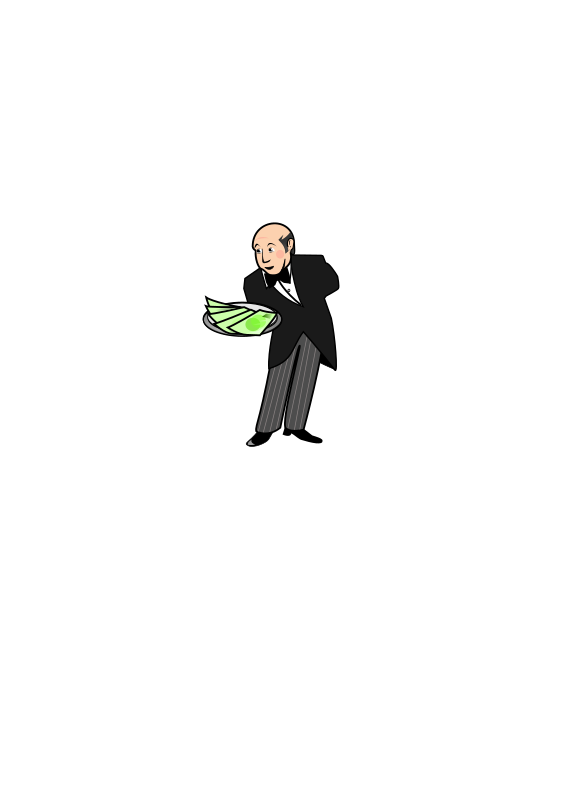 Butler / Waiter Giving a Plate of Cash