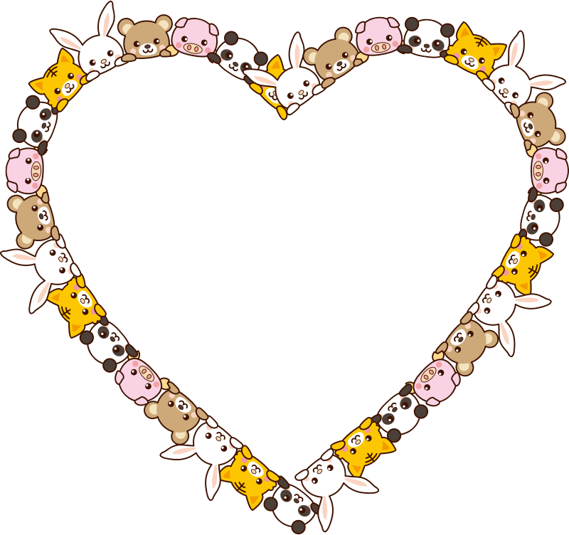 Cute Animals Heart Frame